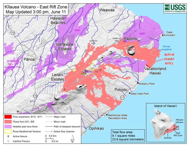 Szczeliny w strefie ryftu wulkanu Kilauea (USGS)