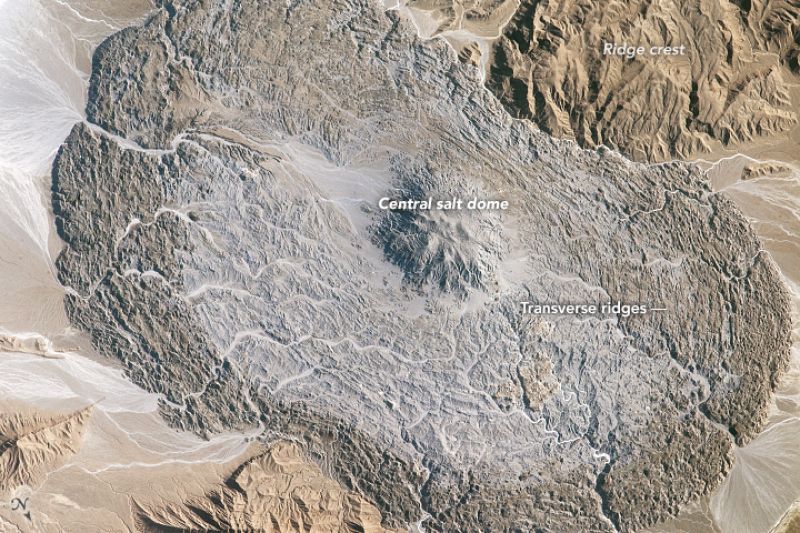 Kopuła soli w górach Zagros (NASA-JSC/William L. Stefanov)
