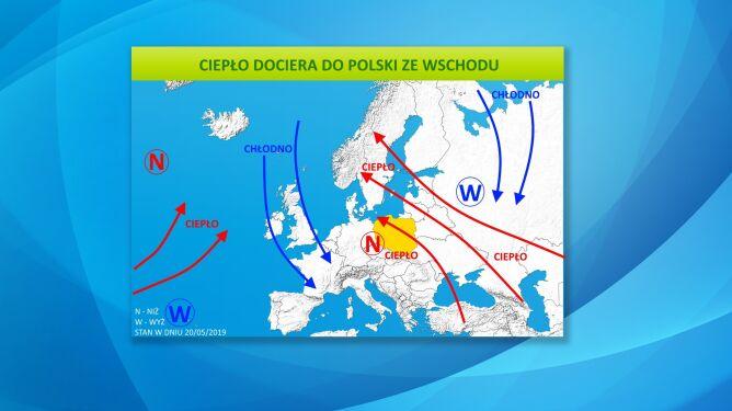 Ciepło dociera do Polski ze wschodu