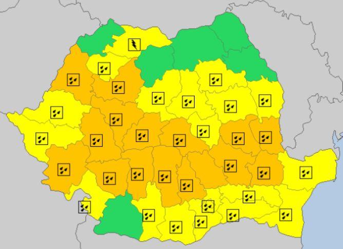 Ostrzeżenia meteorologiczne w Rumunii (meteoalarm.eu)