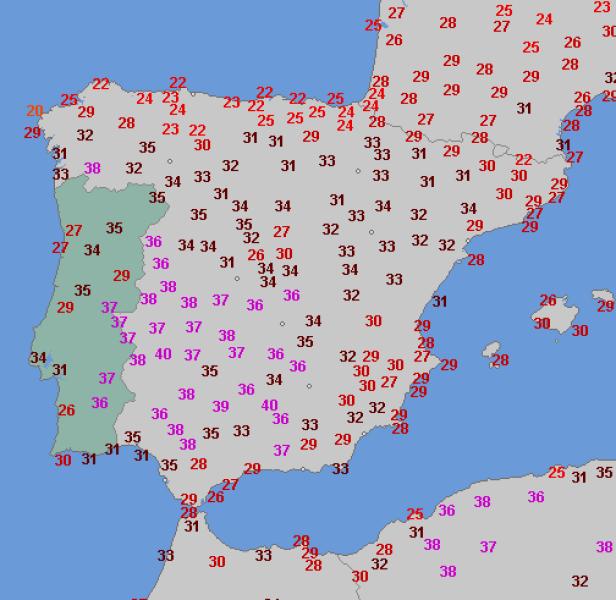 Temperatura na Półwyspie Iberyjskim 13 sierpnia (wetteronline.de)