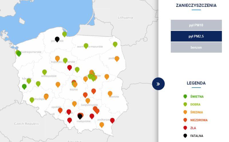Stężenie pyłu PM2,5 w Polsce o godzinie 20 (tvnmeteo.pl za GIOŚ)
