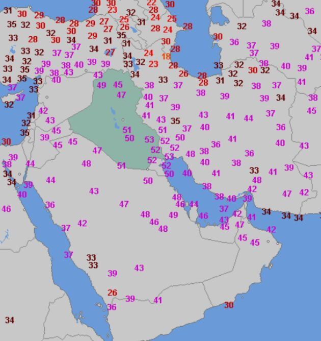 Najwyższa temperatura w Iraku 30 lipca (wetteronline.de)