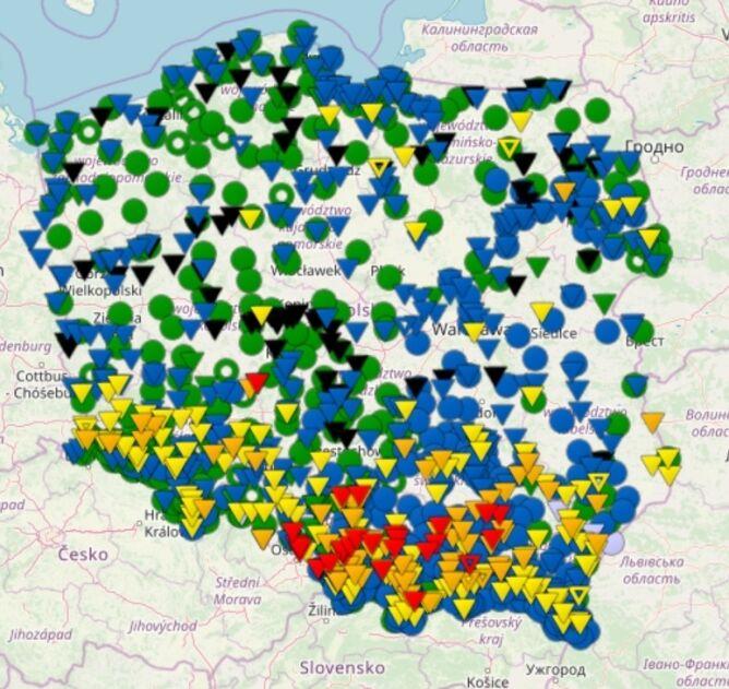 Stan rzek w Polsce o godzinie 20 (monitor.pogodynka.pl/IMGW)