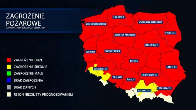 Mapa zagrożenia pożarowego z 23 kwietnia (IBL)