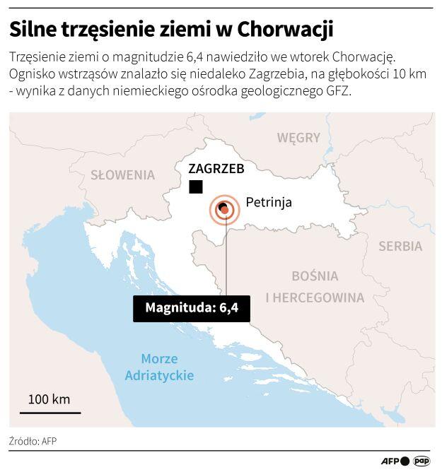 Silne trzęsienie ziemi w Chorwacji (Adam Ziemienowicz/AFP/PAP)
